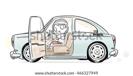cartoon boy and girl driving classic car