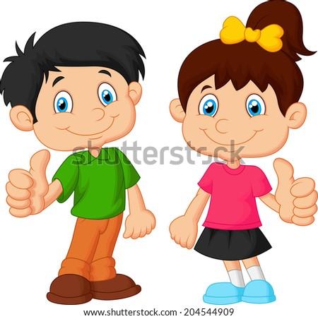 Cartoon boy and girl giving thumb up - stock photo