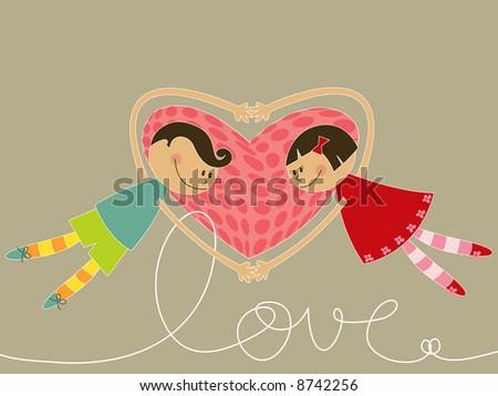 cartoon boy and girl in love (raster) - stock photo