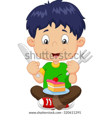 Cartoon boy eating cake isolated on white background