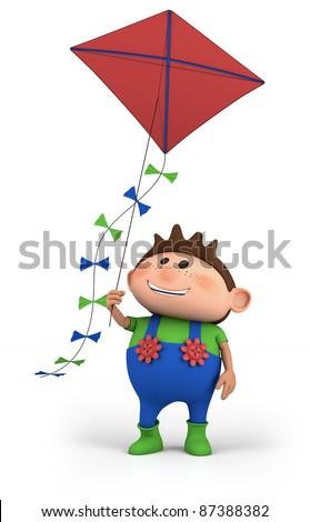 cartoon boy flying a kite -  high quality 3d illustration - stock photo