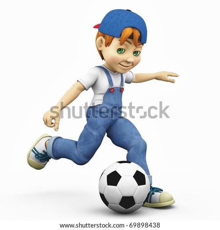 cartoon boy - footballer kick - stock photo