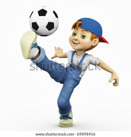 cartoon boy - footballer total control - stock photo