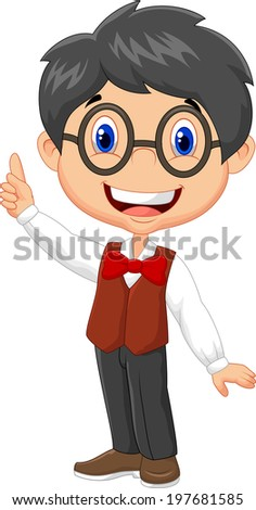 Cartoon boy pointing his finger - stock photo