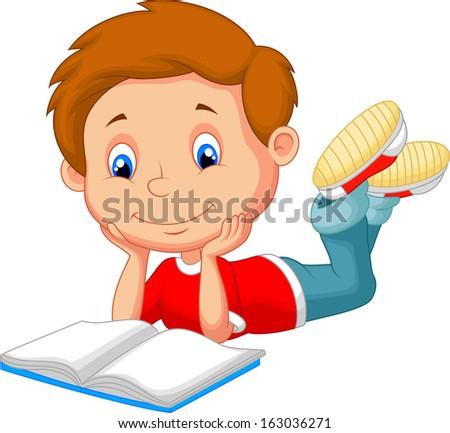 Cartoon boy reading book - stock photo