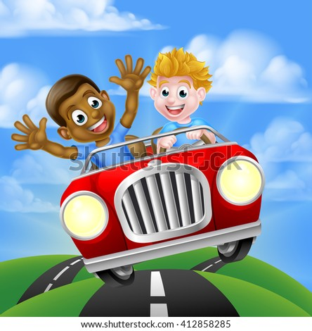 Cartoon boys, one black one white, having fun driving fast in a car on a road trip - stock photo