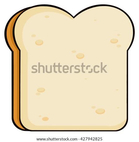 Cartoon Bread Slice. Raster Illustration Isolated On White Background - stock photo
