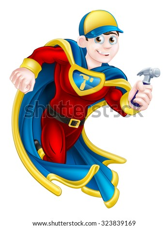 Cartoon builder, handyman, DIY or carpenter superhero mascot holding a hammer - stock photo