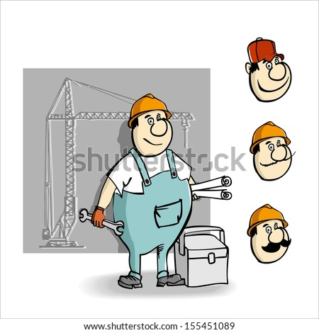 Cartoon builder with a key and drawings for construction.Raster version. The original is also available in my gallery - stock photo