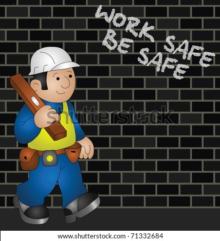 Cartoon builder with health and safety message - stock photo