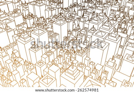 Cartoon Buildings Abstract Background with Lines Only - stock photo