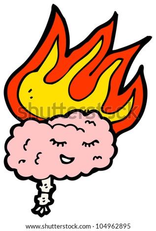 cartoon burning brain - stock photo