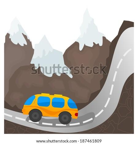 Cartoon bus on a mountain road - stock photo