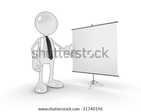 Cartoon business man with blank presentation chart for your own design. - stock photo