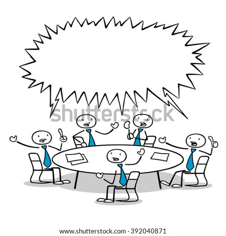 Cartoon business team people in discussion at a round table