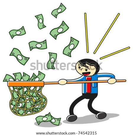 cartoon businessman catch money - stock photo