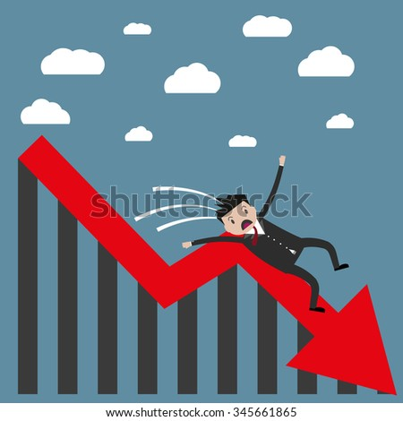 cartoon businessman falling from the red chart arrow. Loser, broke concept. illustration in flat design on blue background - stock photo