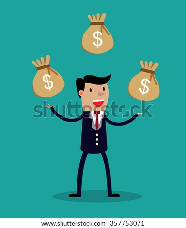 Cartoon businessman juggling three sacks - stock photo