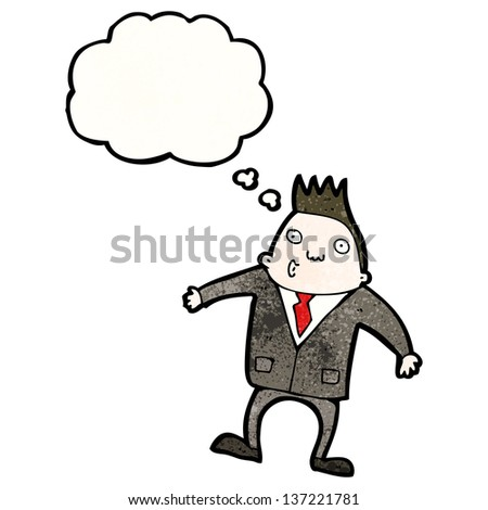 cartoon businessman shrugging shoulders