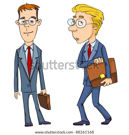 Cartoon businessman with briefcases - stock photo