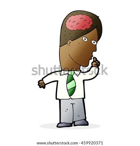 cartoon businessman with huge brain - stock photo