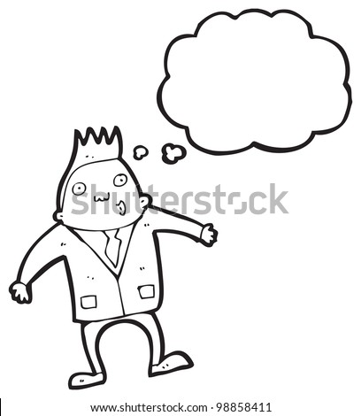 cartoon businessman with thought bubble