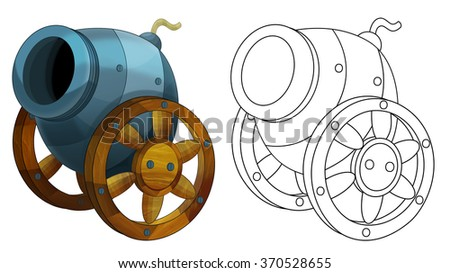 Cartoon cannon - isolated - coloring page - illustration for the children - stock photo