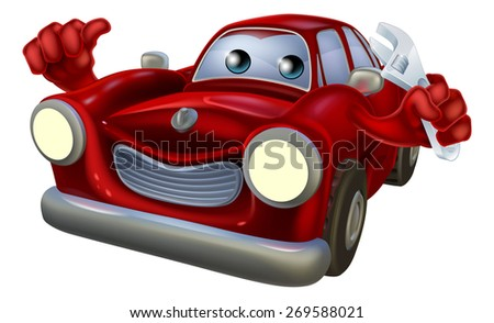 Cartoon car  auto repair garage mechanic character holding a wrench and giving a thumbs up gesture - stock photo