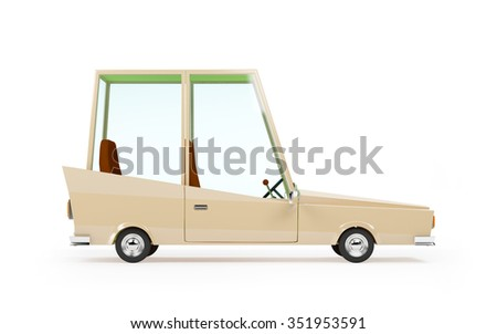 cartoon 1970 car in hipster styles on white background, side view - stock photo