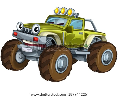Cartoon car - off road vehicle - illustration for the children - stock photo