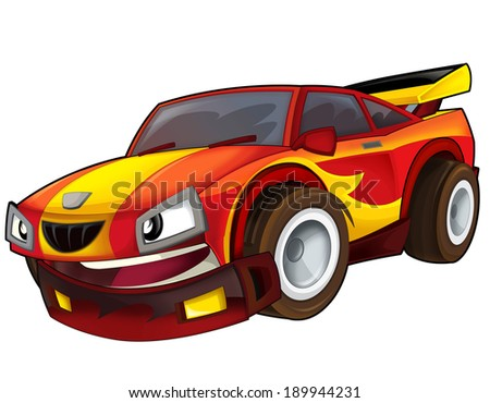 Cartoon car - street racing vehicle - illustration for the children - stock photo