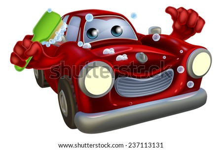 Cartoon car wash mascot man with a happy face giving a thumbs up and scrubbing himself clean with a brush covered in soap suds - stock photo