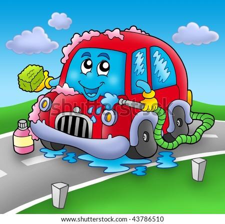 Cartoon car wash on road - color illustration. - stock photo