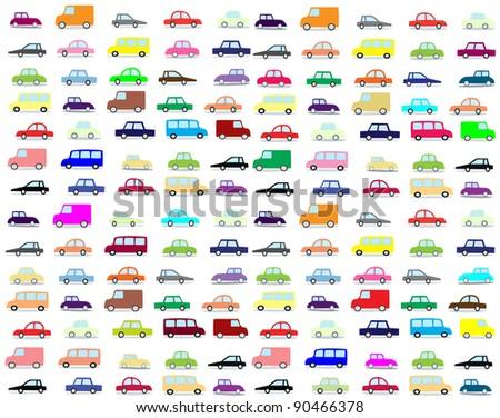 cartoon cars - stock photo