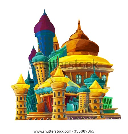 Cartoon castle - illustration for the children - stock photo
