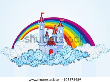 Cartoon castle in the sky - stock photo
