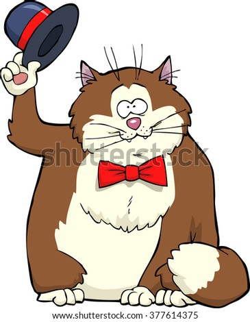Cartoon cat takes off his hat raster version - stock photo