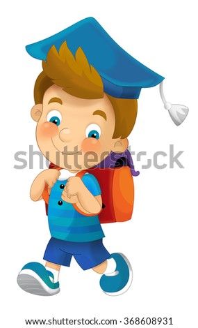 Cartoon character - boy - isolated - illustration for the children - stock photo