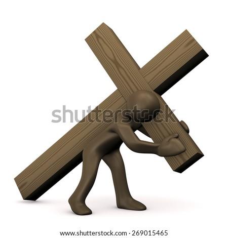Cartoon character carrying cross, burden,3D rendering - stock photo