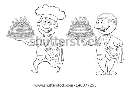 Cartoon character cook and waiter with holiday cake, black contour on white background. - stock photo