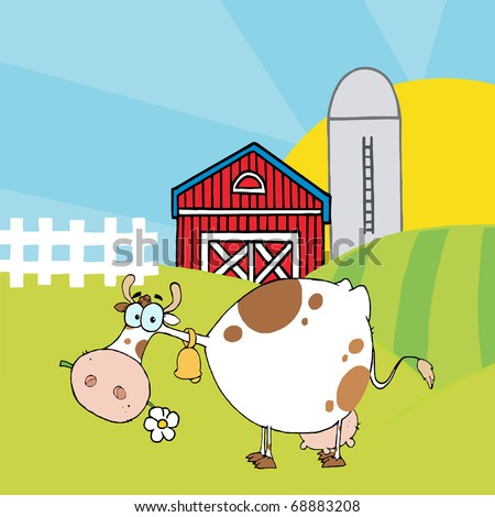 Cartoon Character Cow Different Color White In Front Of Country Farm