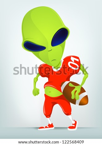 Cartoon Character Funny Alien Isolated on Grey Gradient Background. Rugby. Vector EPS 10. - stock photo