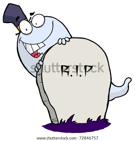 Cartoon character happy ghost behind the tombstone - stock photo