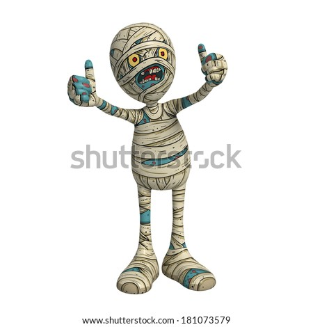 Cartoon character illustration of Scary Mummy Monster for Halloween showing thumbs-up - stock photo