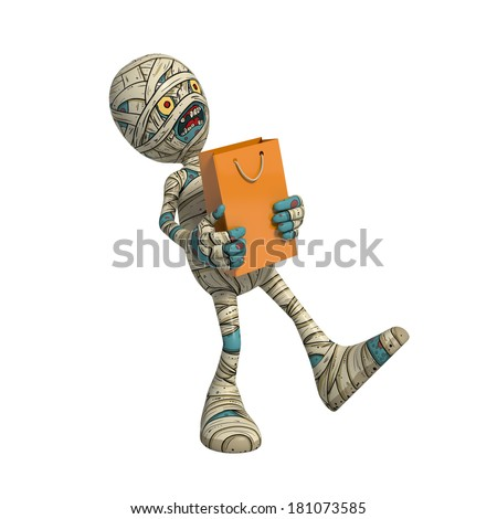 Cartoon character illustration of Scary Mummy Monster for Halloween walking with shopping bag - stock photo