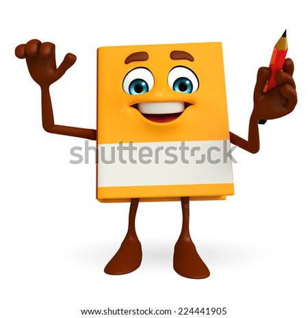 Cartoon Character of Book with pen - stock photo