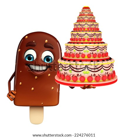 Cartoon Character of Candy with cake