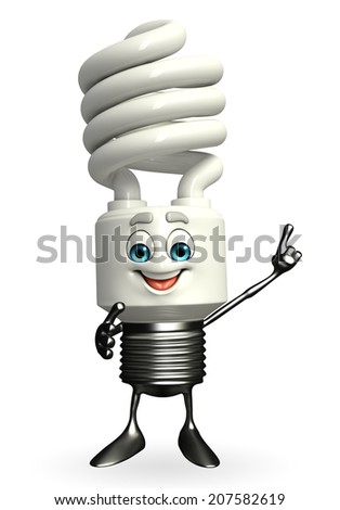 Cartoon Character of CFL is pointing  - stock photo
