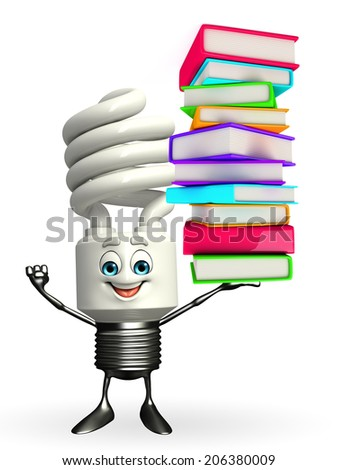 Cartoon Character of CFL with Books pile - stock photo