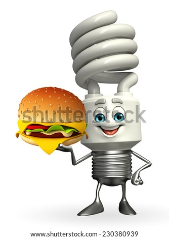 Cartoon Character of CFL with burger  - stock photo